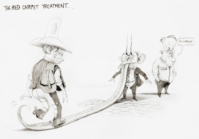 A comic featuring George Bush walking along John Howard tongue, which is unfurled several meters along the ground. Howard is wearing his underwear over his pants. Bush has a saddle over his shoulder, and is wearing chaps without pants. Mark Latham stands nearby, saying 'No comment'. - click to view larger image