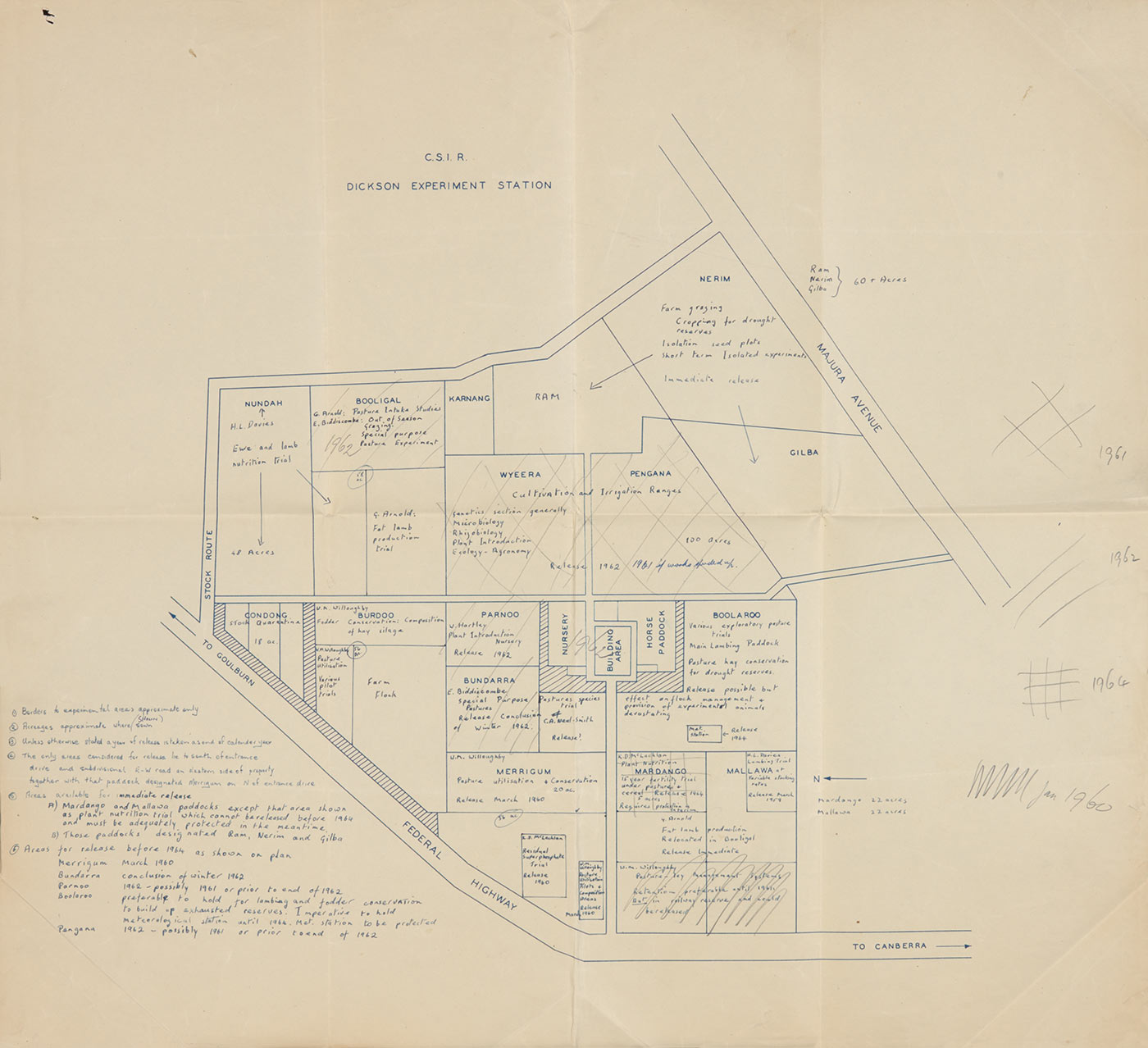 A plan of Dickson Experiment Station showing what crop and pasture trials were underway in the late 1950s and early 1960s. - click to view larger image