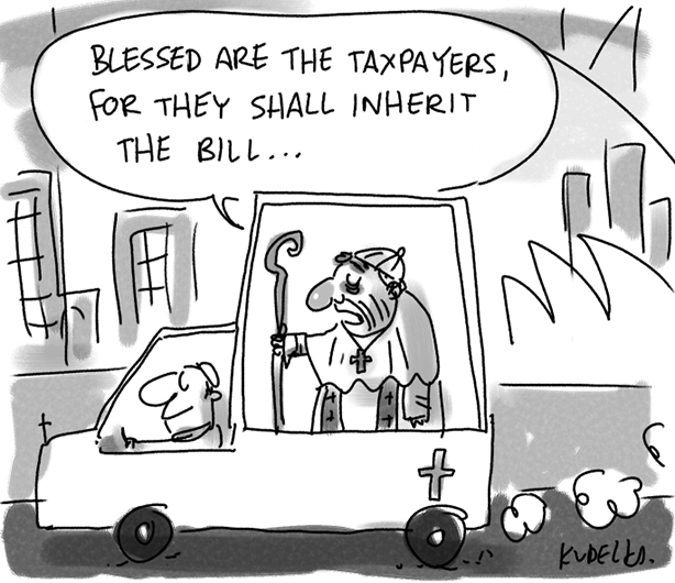 A Pope mobile, driving along a Sydney city street with the roof sails of the Opera House in the background, fills the centre of this cartoon. The Pope stands in the back of the vehicle holding a shepherd's crook. His Holiness says 'Blessed are the taxpayers for they shall inherit the bill ...'.   - click to view larger image