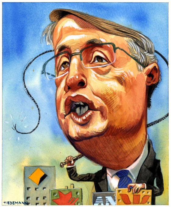 Colour illustration showing a caricature of Wayne Swan with an oversized head. He wears a suit and tie and is cracking a whip while looming over four buildings emblazoned with bank logos. - click to view larger image