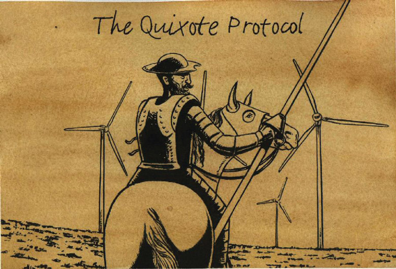 Don Quixote sits on his horse in the image centre with his back to the viewer. He looks to the right and wears a suit of armour and a rounded hat with a flat brim. His horse wears a protective head covering. Don Quixote holds a lance in his right hand. Ahead looming over the horizon are four wind turbines; one is partly obscured by Don Quixote and his horse. The entire image has a light brown watercolour wash over it. At the top is written 'The Quixote Protocol'.  - click to view larger image