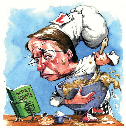 Wayne Swan is depicted as a chef. He has a large chef's hat with an 'L' plate pinned to it and is holding a large blue bowl and large spoon, stirring and making a mess with the bowl's contents. Sweat drops are pouring off his face as he peers intently at a book titled 'Budget souffle'. - click to view larger image