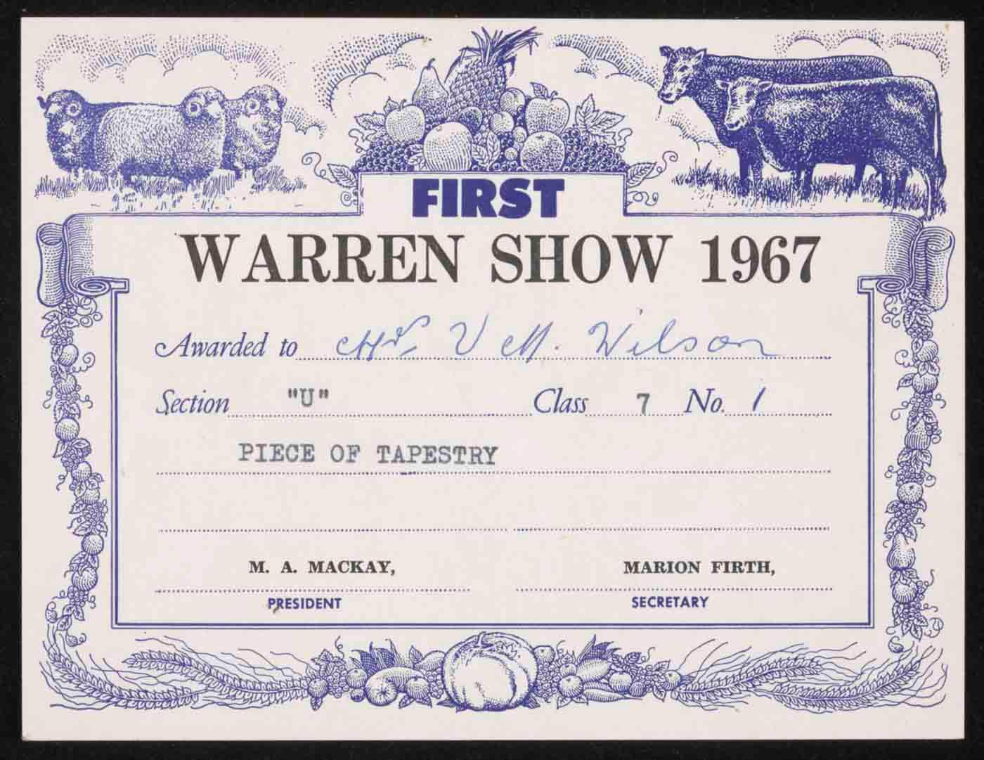 Warren Show First Prize certificate - click to view larger image