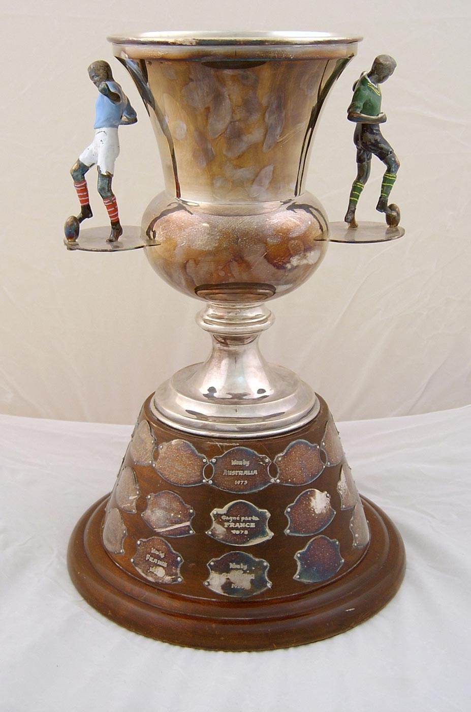 Tarnished International Rugby League trophy before conservation treatment - click to view larger image