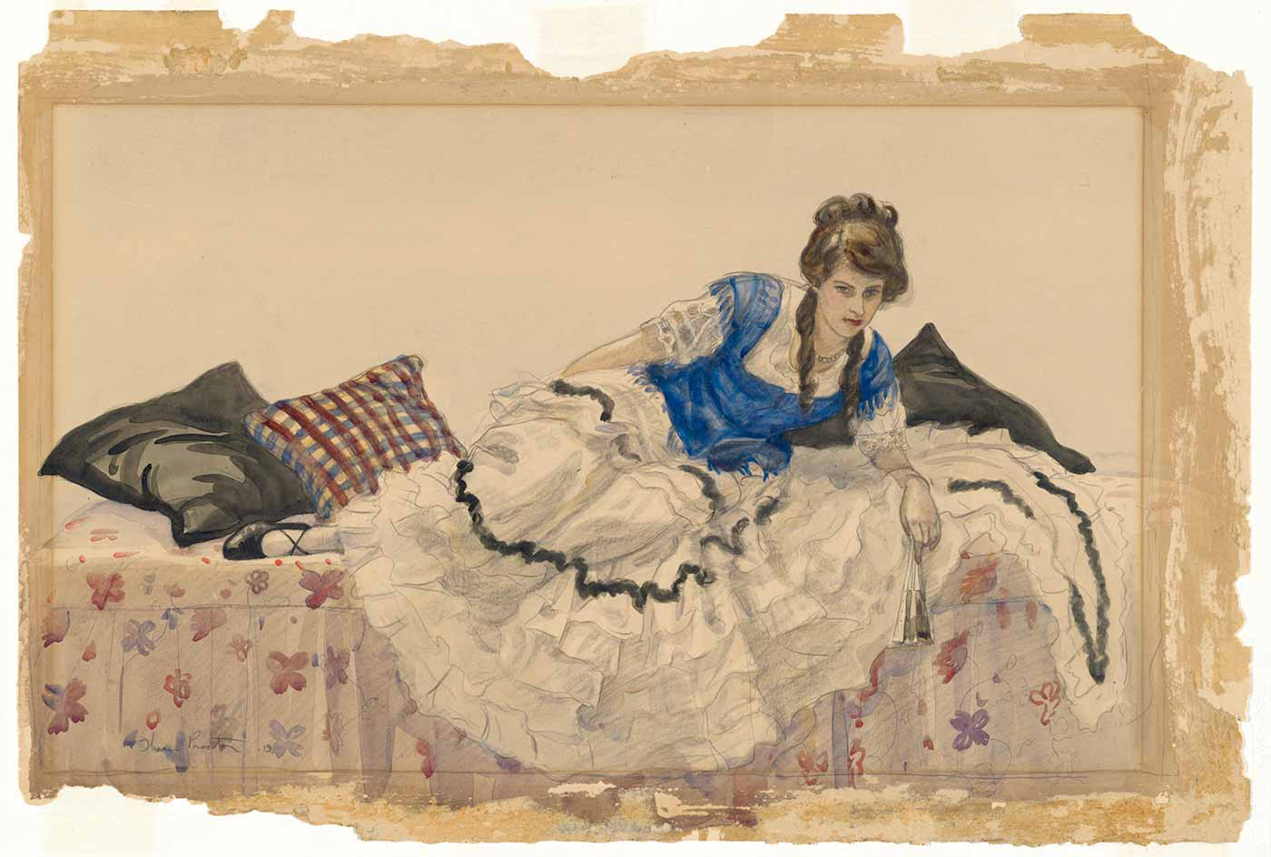 Watercolour painting showing a woman reclining on a daybed. The woman's dress has a blue bodice and white, ruffled skirt. She holds a fan in one hand.