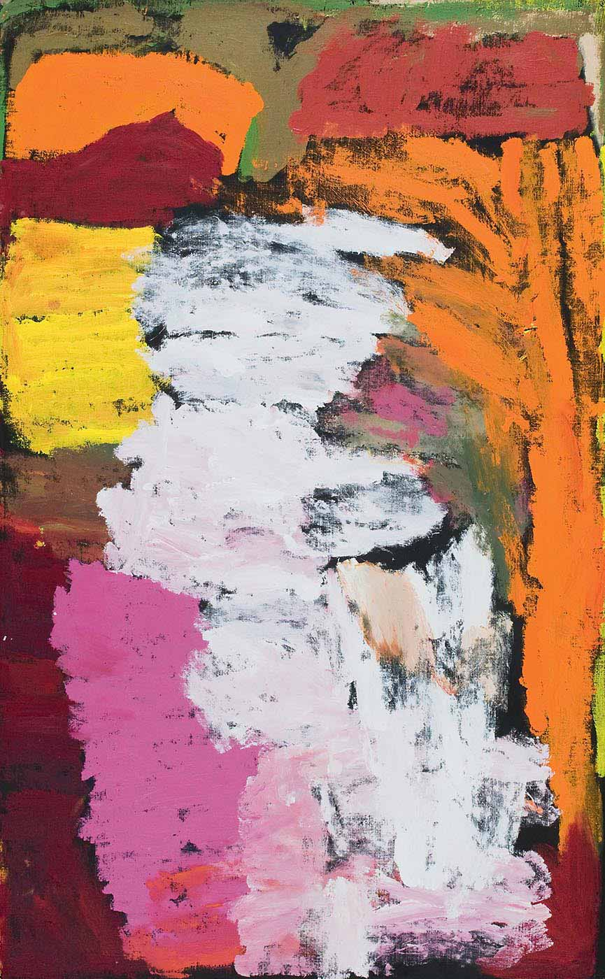 A painting on brown linen with a pale pink-white section down the centre. To the bottom left there is a thick vertical stripe of pink and purple, with sections of brown yellow, burgundy orange and olive above them. On the right of the painting is a vertical stripe of orange and yellow with a block of orange-brown colour above it. - click to view larger image
