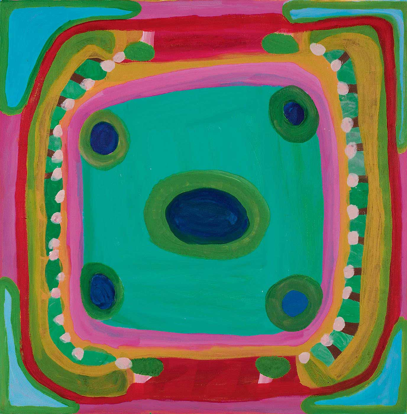 A multicoloured square painting on canvas with a dark blue oval inside a green border in the centre and four dark blue circles with green borders evenly spaced around it, on an aqua background. The centre is surrounded by borders in pink, orange, green, red and pale blue, with a row of brown and pink motifs running down both sides. The corners have a roughly triangular shape in light blue with a lime green border. - click to view larger image