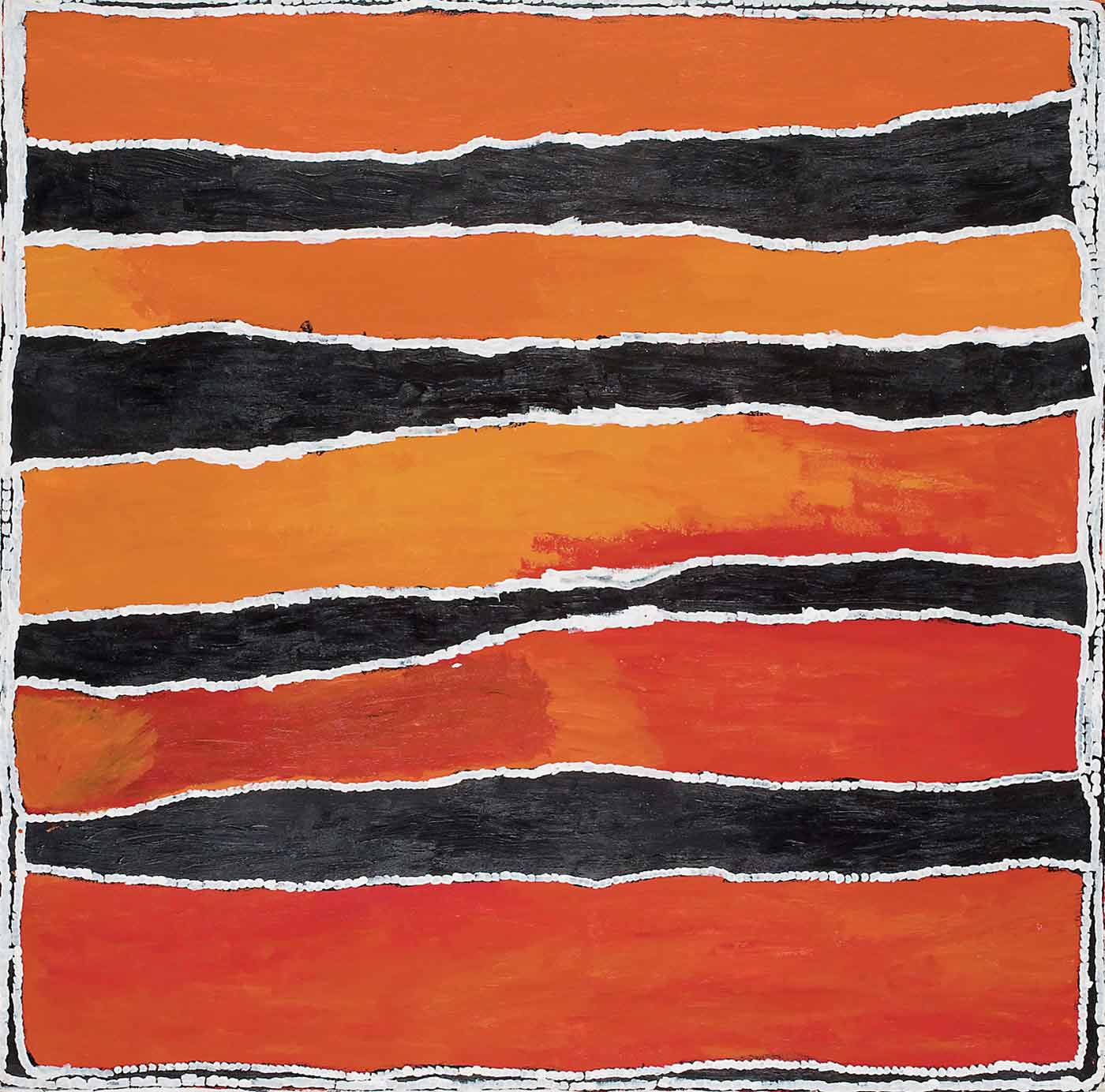 A square painting on canvas with horizontal uneven stripes in orange and black with thin white dividing lines. The orange stripes start as a medium tone at the top, and then yellow-orange in the central section and red-orange in the bottom part of the painting.  - click to view larger image