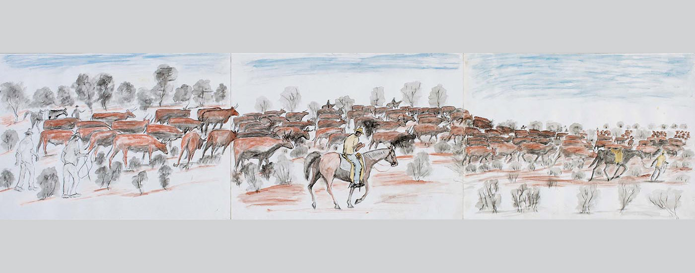 A water colour and pencil work on three sheets of heavy paper joined with adhesive tape on the reverse. The work depicts a herd of brown coloured cattle with men on horseback and men on foot around them. A male figure, centre, wears a yellow hat, beige shirt and blue trousers, and rides a red-brown horse. In the background are trees and foliage in grey or brown against a light blue sky, while in the foreground there are plants in grey on a red ground. At the left edge the page is uneven where it has been torn from a spiral bound pad. There is a piece of the same paper that sits inside the work when it is folded up. - click to view larger image