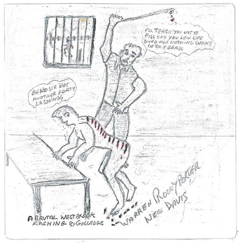 A sketch showing a man standing, lashing a naked boy who leans on a table. The boy has red weals across his back and red drops of blood lie on the floor underneath. The man says 'I'll teach you not to p__s off you low life good for nothing snake in the grass' The boy says 'Oh no sir, not another forty lashings'.