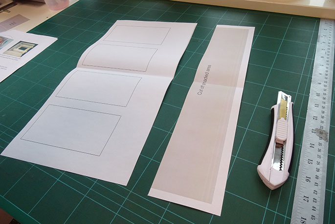Storyboard template on a cutting mat