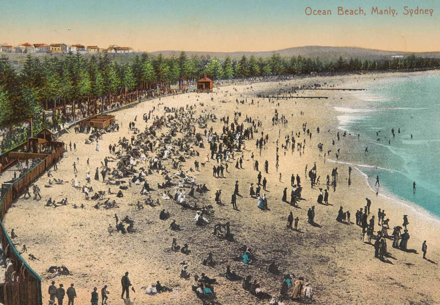 An old postcard of Manly Beach in Sydney.