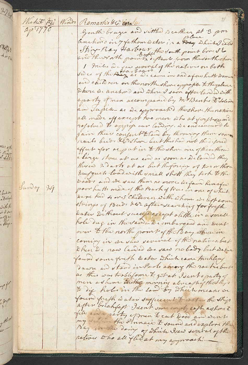 Page from a logbook featuring cursive handwriting. The pages are yellowed with age and feature various marks and stains.
