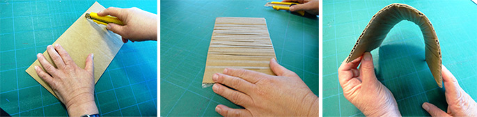 A compilation of three photos demonstrating cardboard cutting technique.