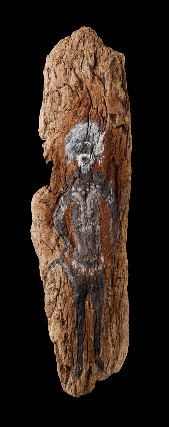 An acrylic painting on driftwood featuring an indigenous man with a white beard and hair, and body paint. - click to view larger image
