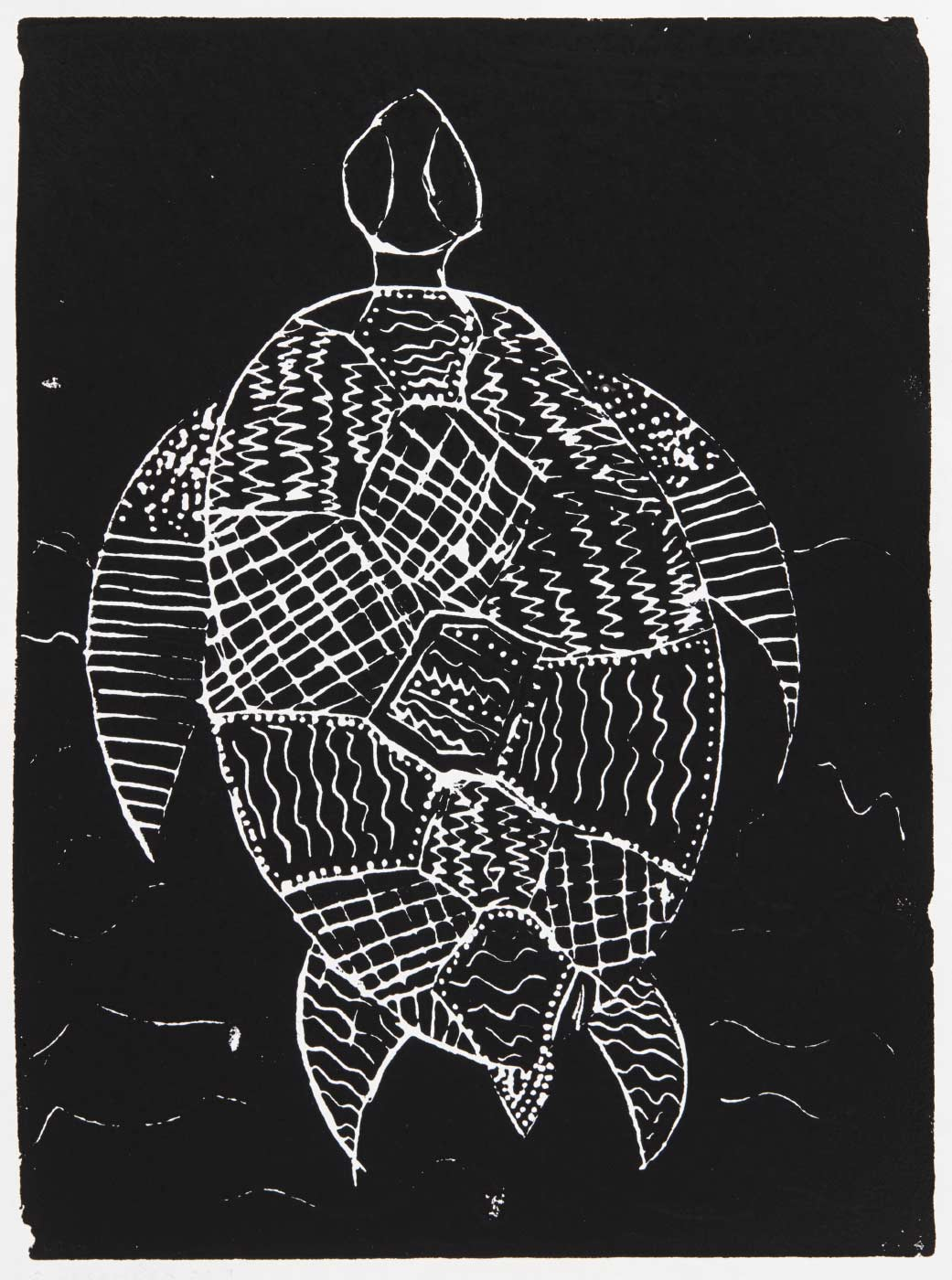 Print, black ink in white paper, depicting a turtle. Annotated in pencil 'TASIA DOUGHBOY 2/12/19'. - click to view larger image
