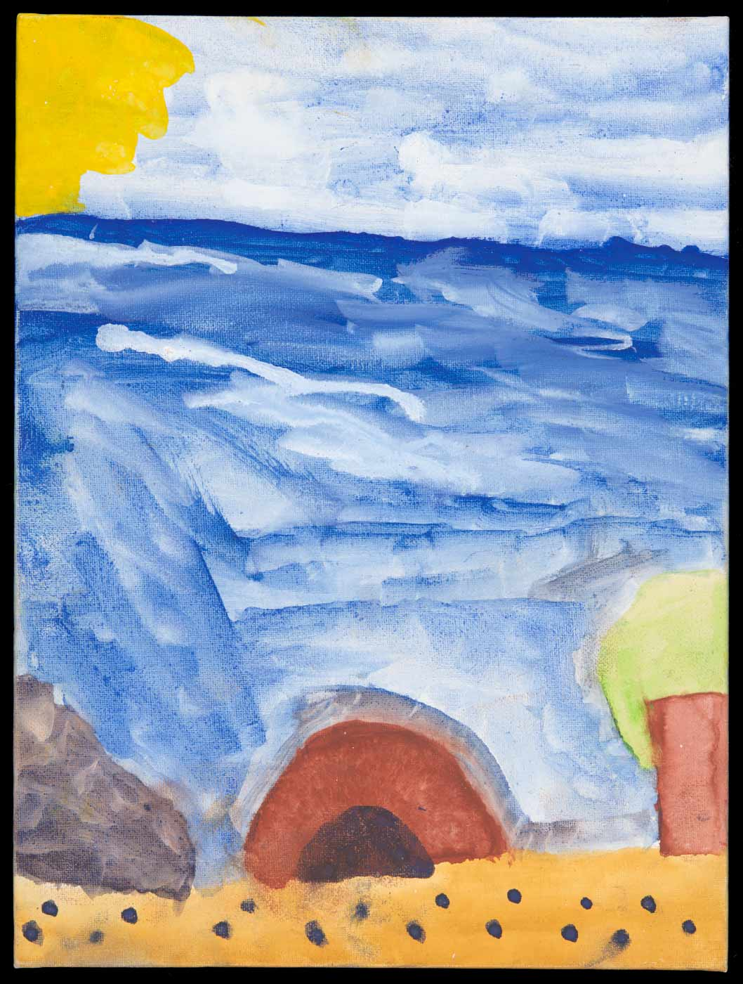 Painting on cotton canvas board, depicting a shoreline against a blue ocean a lighter blue sky and a yellow sun in the top left corner. - click to view larger image