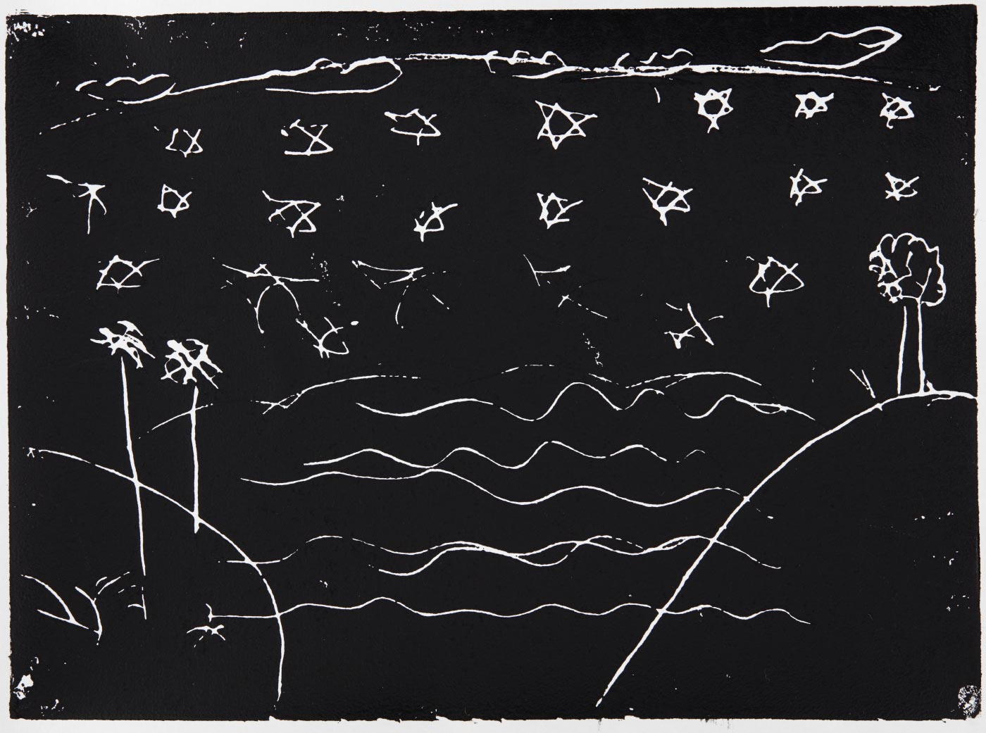 Print, black ink on white paper, depicting water between two headlands with stars above. Annotated in pencil 'Carmen'. - click to view larger image