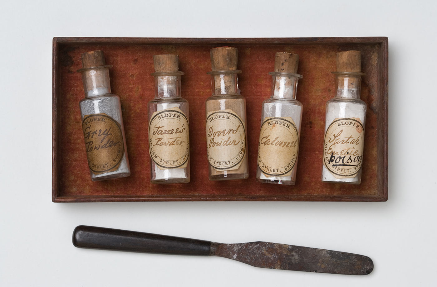 A set of bottles from the Faithfull family collection medicine chest. - click to view larger image
