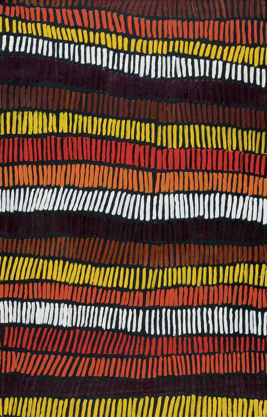 A painting on brown linen with horizontal rows of vertical strokes in yellow, brown, burgundy, orange, red and white on a black background. - click to view larger image