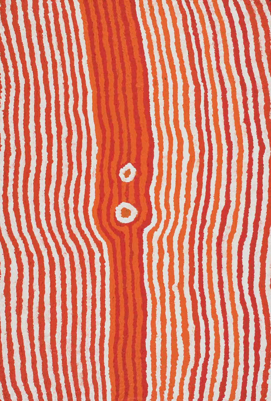 A painting on brown linen with orange, red and white vertical stripes with a darker central section. In the centre there are two white and orange circles. - click to view larger image