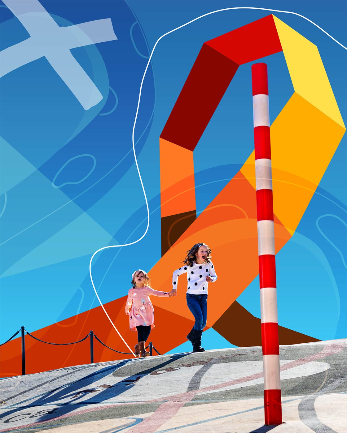 Composite image including two young girls holding hands and running, and various graphic art features.