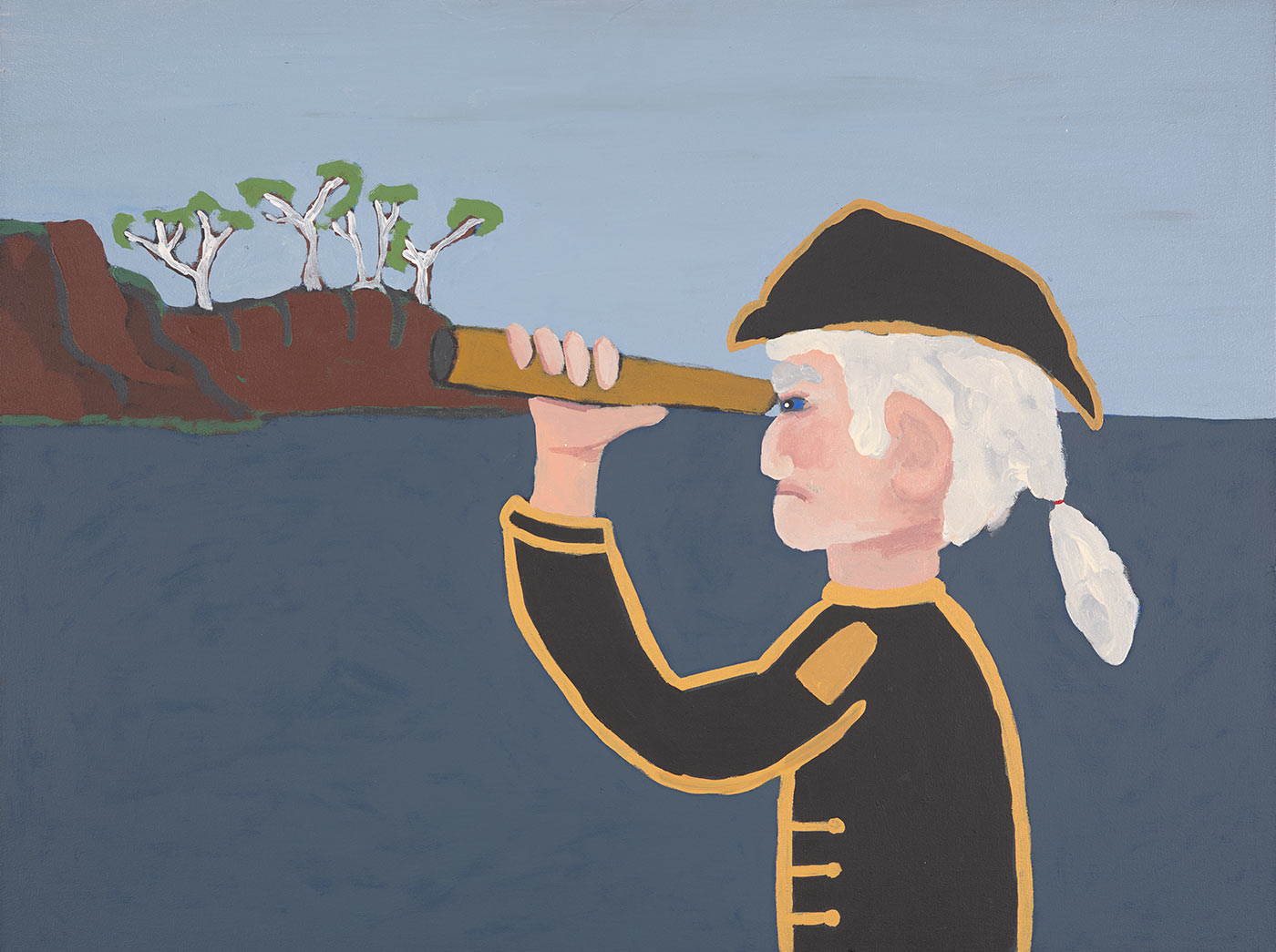An acrylic painting on canvas, featuring Captain Cook looking through a telescope. - click to view larger image