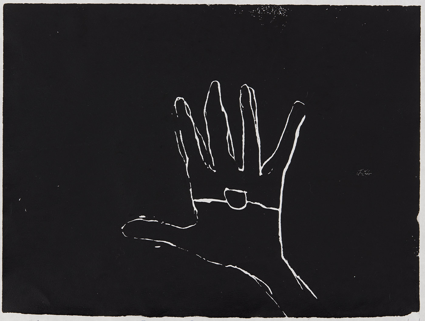 Print, black ink on white paper, depicting a hand with a line and a circle across the middle. Annotated in pencil 'FOREVER BLACK JONAS INGREY 11/12/19'. - click to view larger image