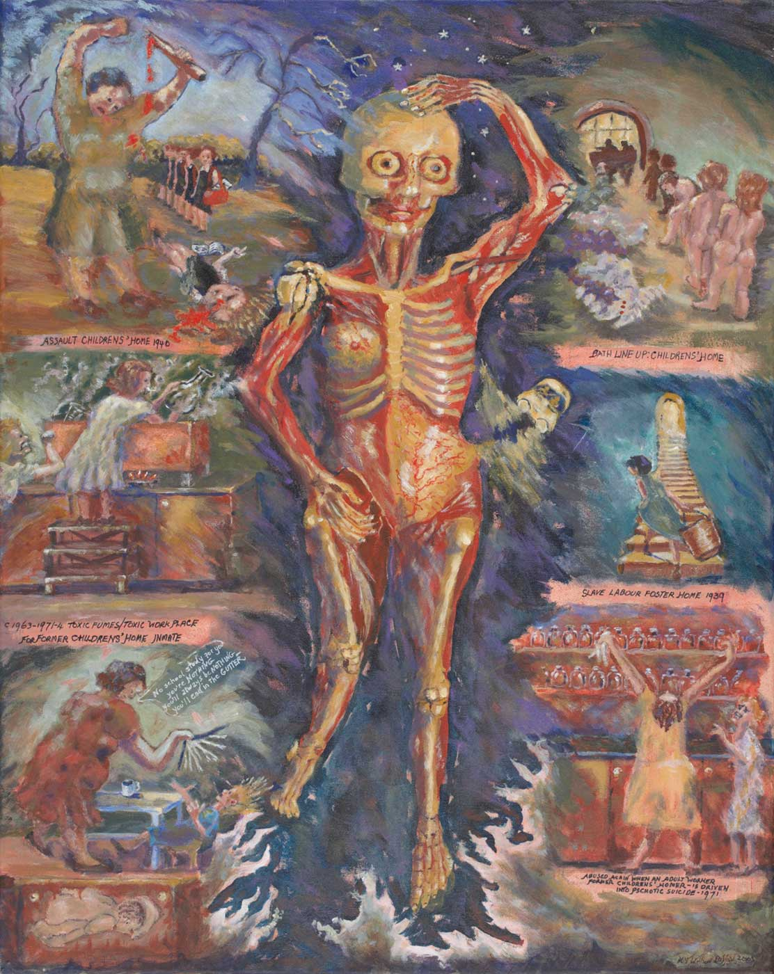 Photograph of a painting showing a central skeleton with its left arm raised and with hand resting on the skull. Some muscles and tissues and the eyes are visible. Various scenes are depicted around the skeleton. - click to view larger image