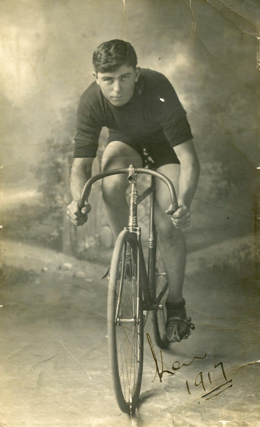 Ken Ross riding a bicycle. - click to view larger image