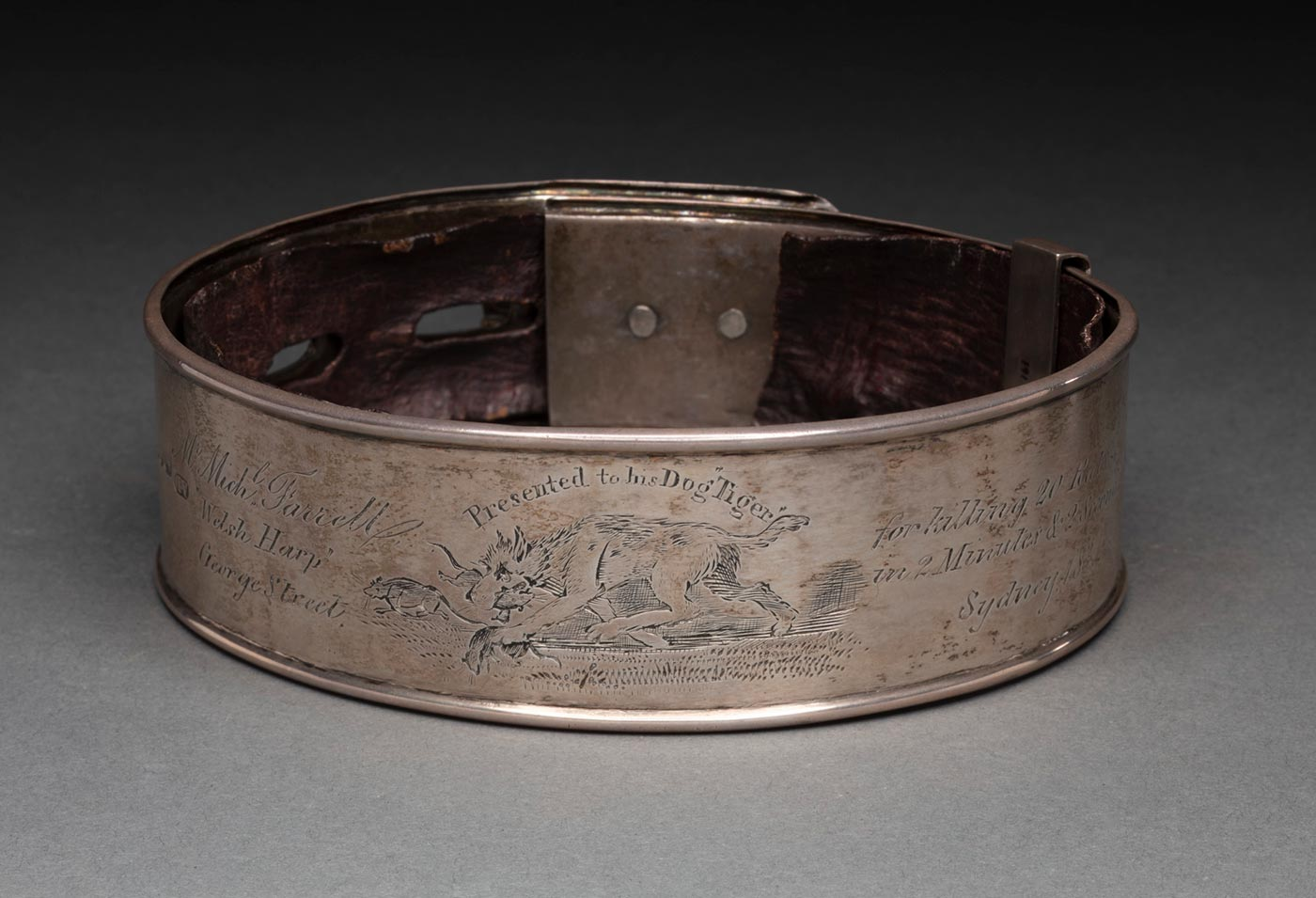 A sterling silver dog collar with a brass padlock and lined with dried brown leather. The collar is engraved with 'Mr. Michl. [sic] Farrell /