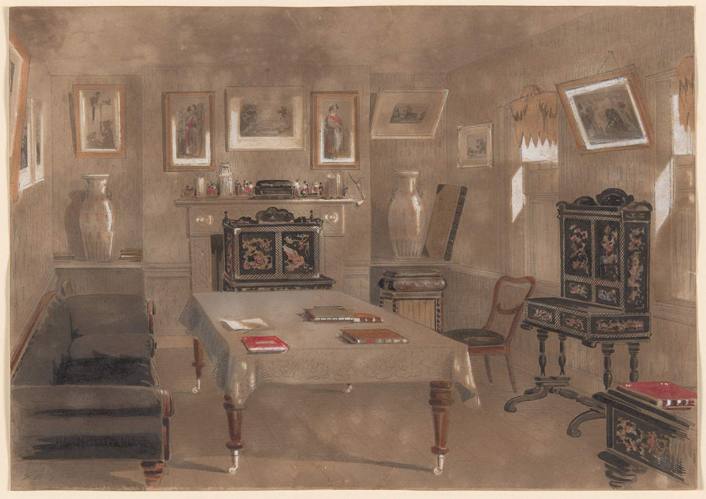 A watercolour painting in greys, browns and white with small sections of red depicting a drawing room. The room includes a table, a sofa, a chair, a fireplace, a cabinet and a number of paintings. Handwritten in pencil in the bottom left hand corner is 'S.T.G. / /57'. - click to view larger image