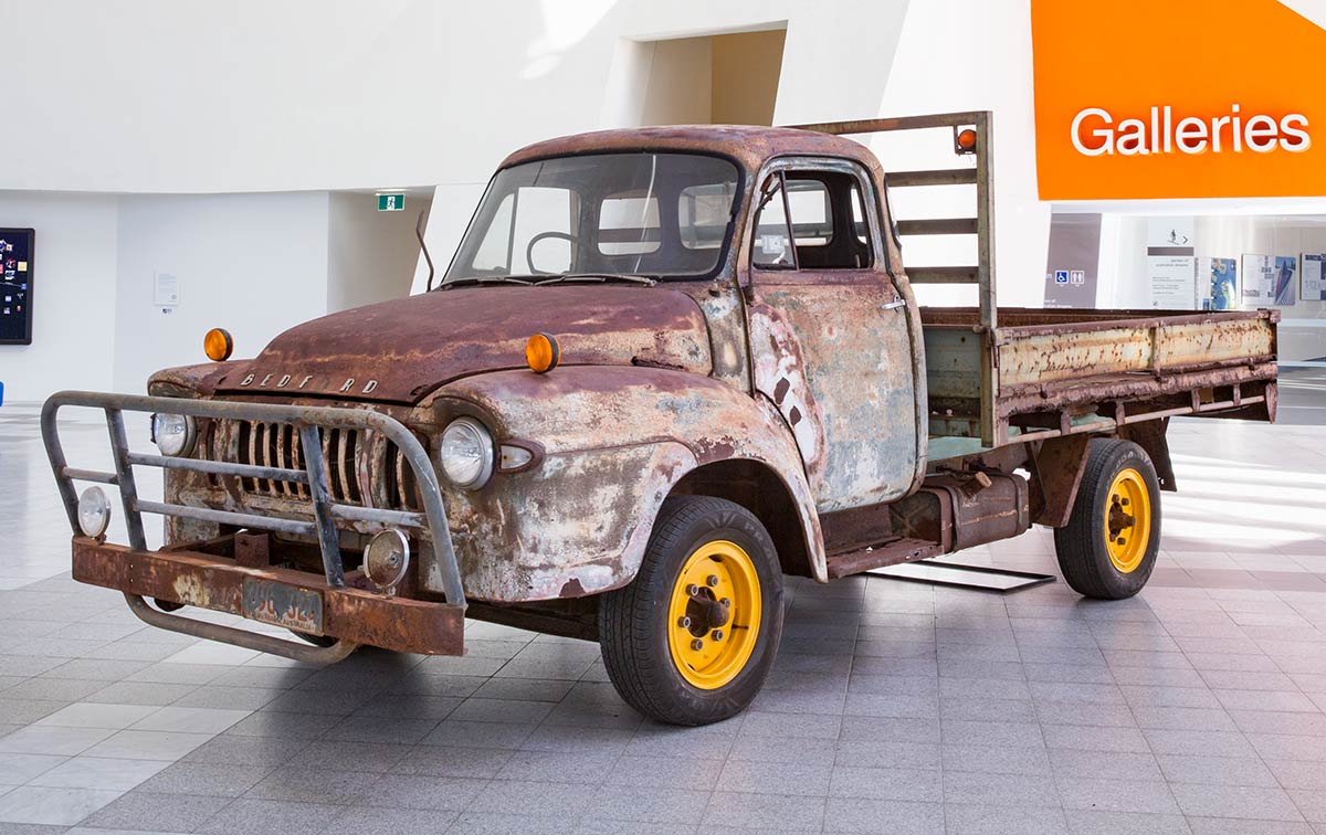 Old rusted truck on display in the Gandel Atrium. - click to view larger image