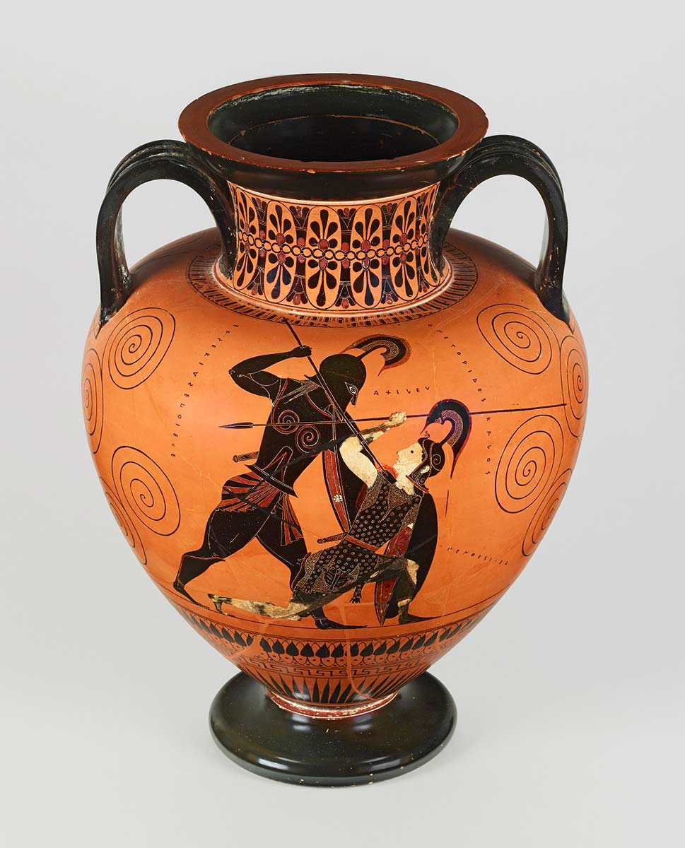 A vase with a rounded body, curved handles and a floral motif pattern on the neck. The vase features an illustration of two men with spears in combat. - click to view larger image