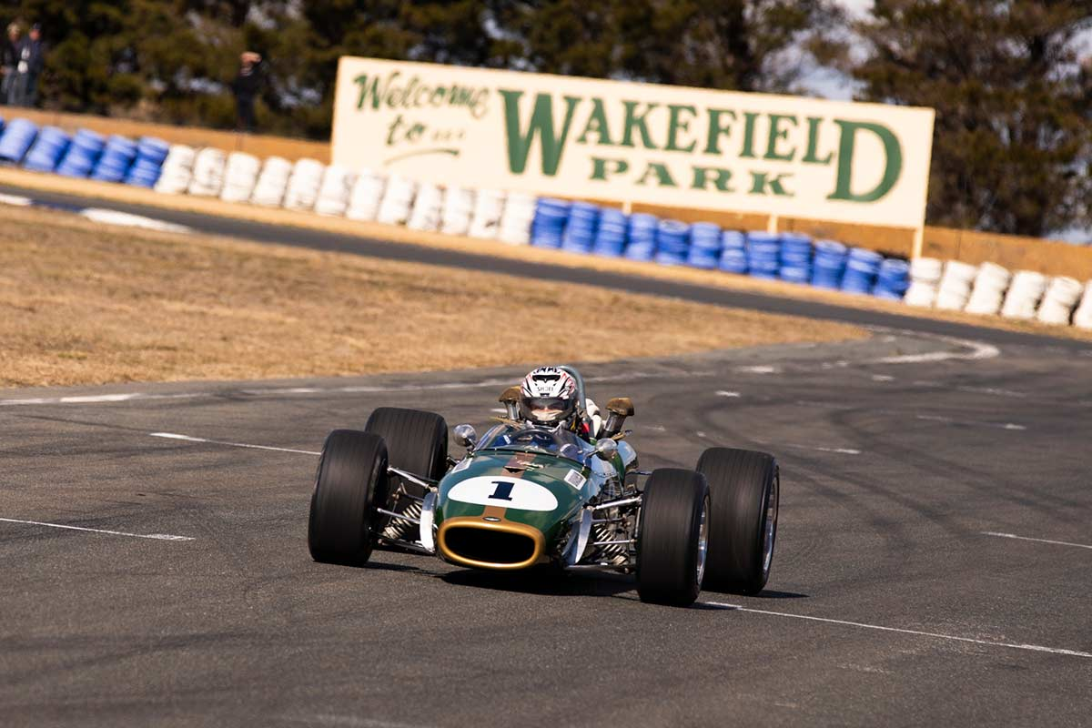 Brabham racing car navigating the Wakefield race tracks. - click to view larger image