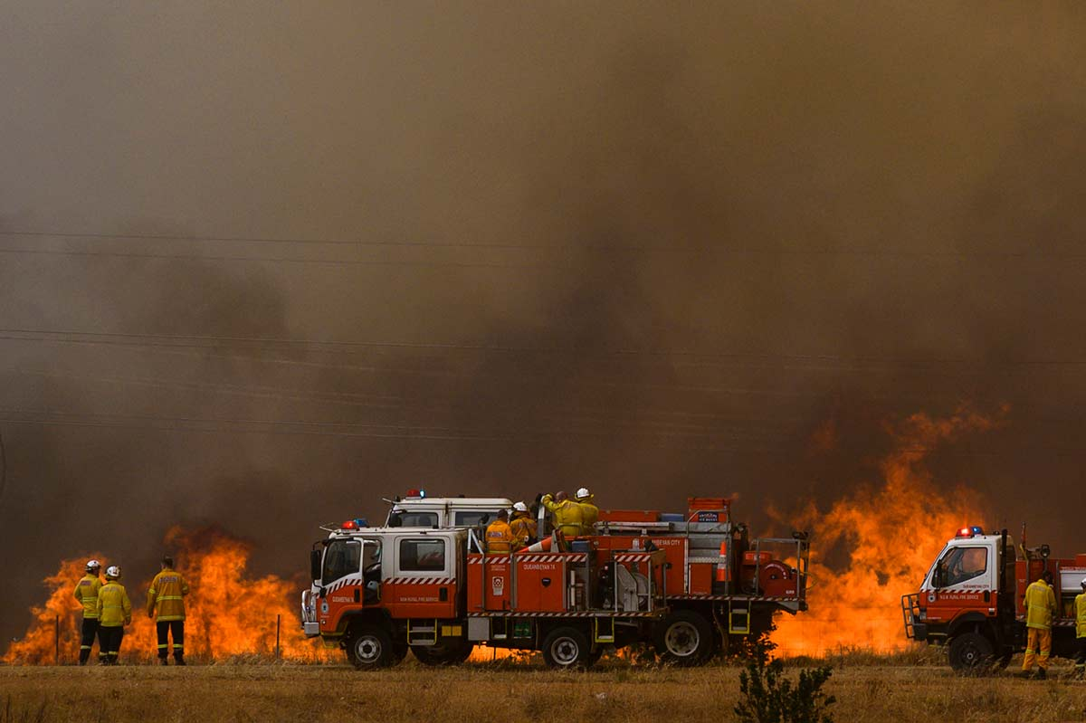 Fire trucks and firefighters surveying a raging bushfire on farmland. - click to view larger image