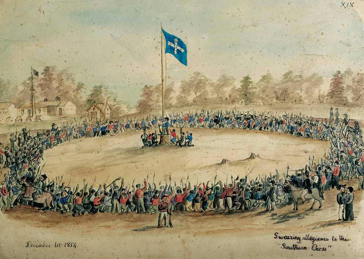An illustration showing a ring of people, many with their arms in the air, circling a smaller central group of people who are standing under a blue 'Southern Cross' flag. - click to view larger image