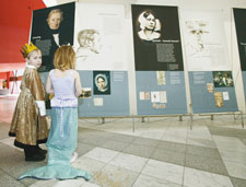 Aiden McDonald and Grace Rogerson at the Hans Christian Anderson 2005 exhibition opening.