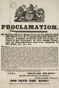 Photograph of Governor Bourke's Proclamation revoking Batman's treaty with the Aboriginals.
