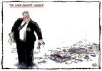 Cartoon of the Director of Public Prosecutions whose briefcase has fallen open, leaving a messy trail of papers, assorted stationery and a sock and coffee mug.