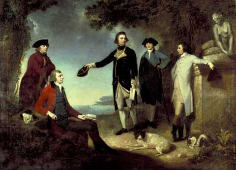Painting by John Hamilton Mortimer that shows (from left to right) Dr Daniel Solander, Joseph Banks, Captain James Cook, Dr John Hawkesworth and Lord Sandwich