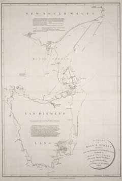 Chart of Bass Strait by Matthew Flinders published in London in 1800