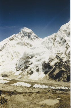Snow-capped Mount Everest.