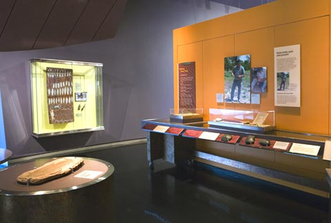 Display featuring the different types of stone and techniques that Aboriginal people have used to produce different types of stone tools