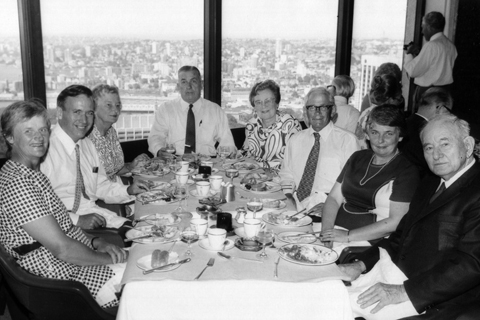 View one of the 25th anniversary reunion of the Arnhem Land Expedition, Sydney, 11 March 1973. Left to right: Diana Bassett-Smith, Kelvin Hodges, Cecily Hodges, Major Walter Murphy (Australian Defence Force), Elaine McCarthy, Fred McCarthy, May Jolliffe and Charles P Mountford.