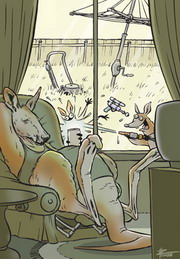 Cartoon of a kangaroo sitting on the couch whilst a joey plays in the backyard.