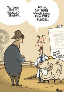 Cartoon of a scientist showing a farmer a sheep he has been feeding recycled stubbies to get more fleece.