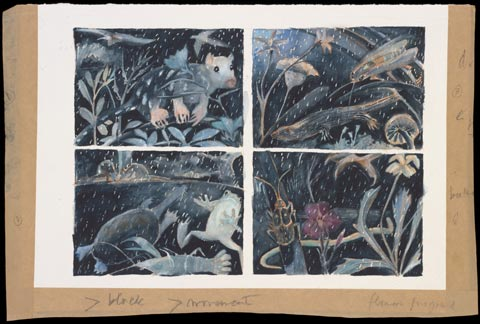 A painting, divided into four panels, depicting animals and insects in their native habitats during rain.