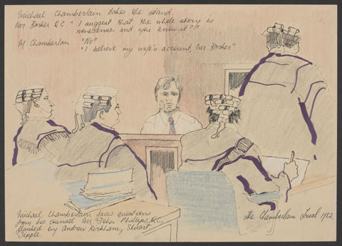 Pencil and coloured ink sketch showing a man seated in a courtroom. He wears a white shirt and blue and red tie and faces four men figures dressed in legal robes and wigs. Handwritten text is visible at the top and bottom of the sketch.