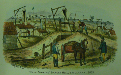 Colour artwork of gold diggings with two men and a horse and cart in the foreground.